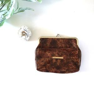 Vintage 60's Small Marbled Gold Clasp Change Purse